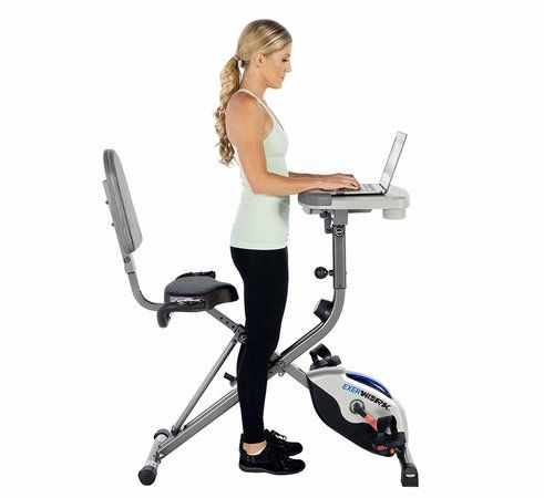 Exerpeutic WorkFit 1000 Fully Adjustable Folding Exercise Bike with Desk